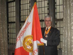 Timothy C. Flinton with the Flag